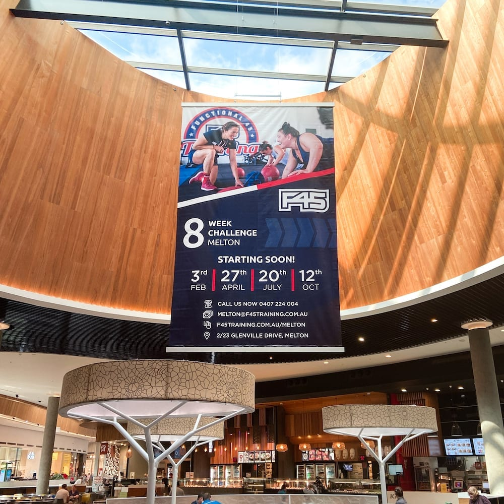 F45 Training Banner installed in Woodgrove Shopping Centre in Melton, VIC, Australia