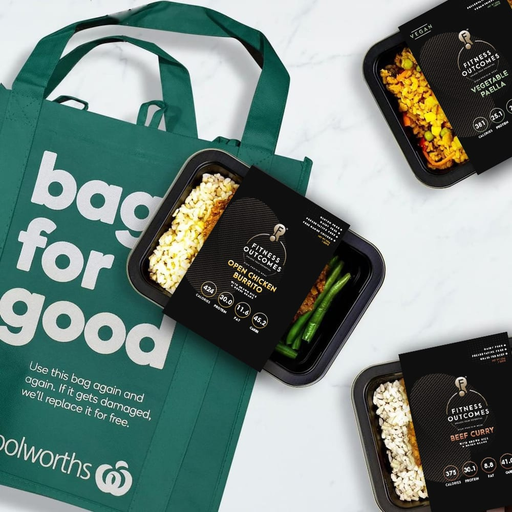 Fitness Outcomes Packaging Sleeves with Woolworths Shopping Bag