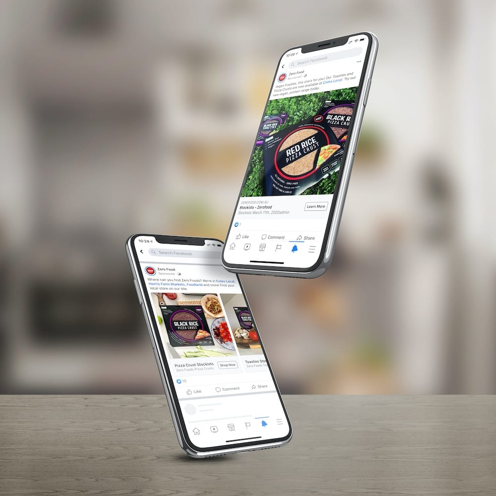Zero Food Facebook and Instagram Ads on Phone Screen