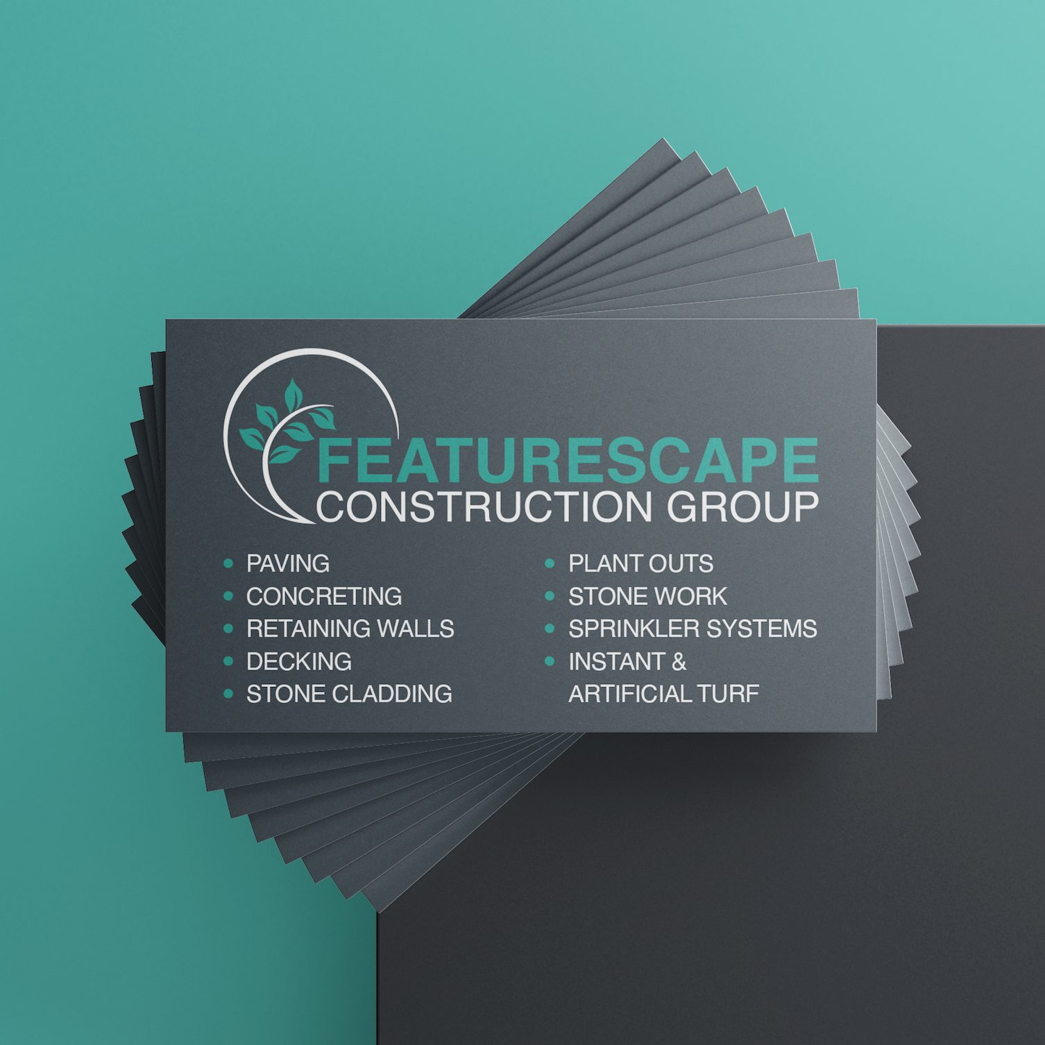 Featurescape Construction Group Landscaping Business Logo and Cards by Spacey Studios